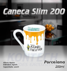 Caneca Slim Porcelana 200 ml